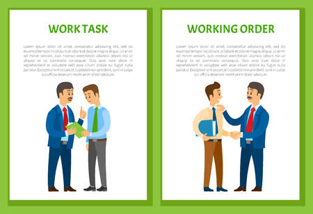 Working order and work task, boss giving instructions to employee, conversation between colleagues. Leader encouraging coworker, vector posters set