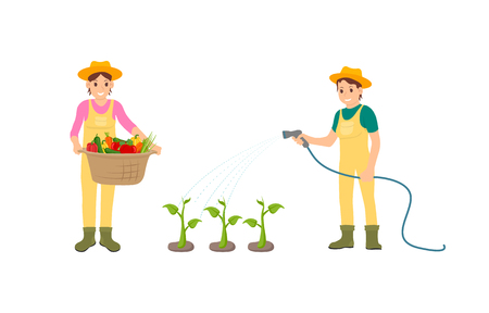 Woman and watering hose isolated icons set. Basket with carrots lettuce, peppers harvested vegetables. Growing plants and veggies on plantation vector Foto de archivo - 125493796