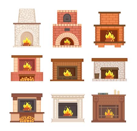 Cheminée rougeoyante en pierre, brique et vecteur en bois. Cheminée design avec bois brûlant et bûches au sol. Grille décorée avec des bûches pour l'intérieur