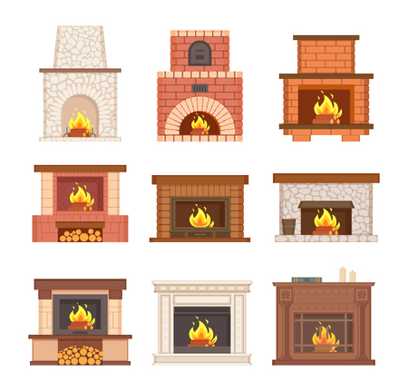 Glowing fireplace from stone, brick and wooden vector. Designer chimney with burning woods and logs on floor. Decorated grate with logs for interior