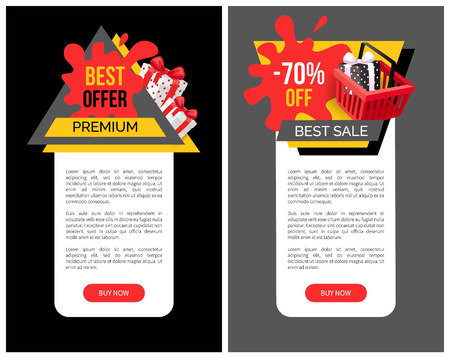 Sale 70 percent off web page sample with shopping cart, gift boxes and price tag blots. Total discounts on goods, poster with text, vector special offer 일러스트