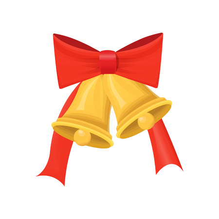 Gold Christmas bells with big red bow isolated on white vector. Holiday element of winter decoration. Single glossy campanulas with ribbon design icon