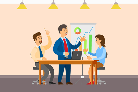 Business meeting, people sitting at table and discussing reports with graphs and charts. Work in team concept, boss and executive workers, interior design
