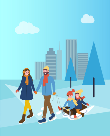 Mother and father with children on sleds in park vector. Snowy city with skyscrapers toddlers sitting on sledges, parents walking wintertime season  イラスト・ベクター素材