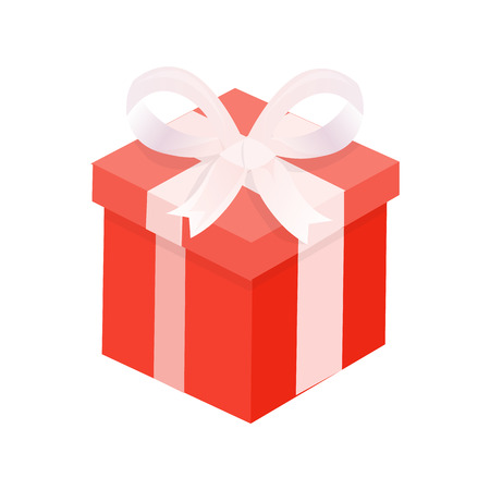 Red present with winding wide ribbon and big bow. Illustration of single Christmas gift box, 3D icon isolated on white, element for decoration vector 向量圖像