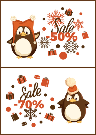 Christmas sale penguin in hat with pompon. Card decorated orange packages and pattern of snowflakes. Seabird in funny headdress, holiday discount vector