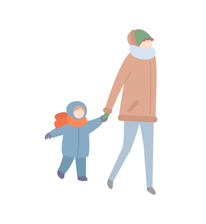 Mother walking with child holding hand of kid vector. People having fun at wintertime, winter season cold weather and warm clothes put on baby boy Ilustracja