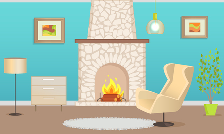 Interior of flat with stone chimney and burning firewood. Blue wallpaper and hanging pictures, armchair and rug near houseplant, nightstand vector