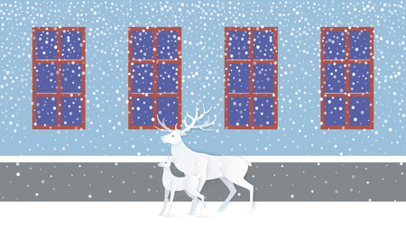 Deer and fawn in white near blue wall with windows. Greeting card with animals near casement with dark view and snow falling weather in flat style vector