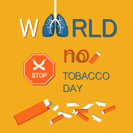 World no tobacco day WNTD celebrated on 31 May, broken cigarette, stop sign with crossed hands. Abstinence from nicotine consumption around globe vector Illustration