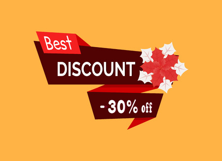 Best discount 30 percent off with poinsettia vector red flower and leaves isolated. Postcard design with Christmas blooming symbol, super sale tag Vectores