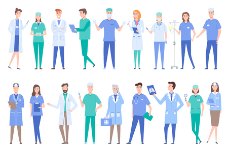 People working as doctors wearing gowns uniforms vector. Set of specialized professionals dealing with treatment and prescriptions surgeons with x ray. Set of peoples work in clinic flat style  イラスト・ベクター素材