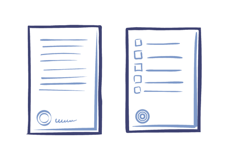 Appliance letter sample, line art icons. Paper sheet list tips, signed contract, stamp and signature vector icon isolated. Commercial documentation