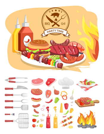 BBQ grill party time poster with text. Hamburger and roasted meat, vegetables and utensils, flatware isolated icons vector. Sauces and served dishes Archivio Fotografico - 125493826