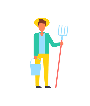 Farmer man living in rural area wearing hat and carrying bucket with hay-fork. Professional farming person in countryside. Occupation agronomist vector Illustration