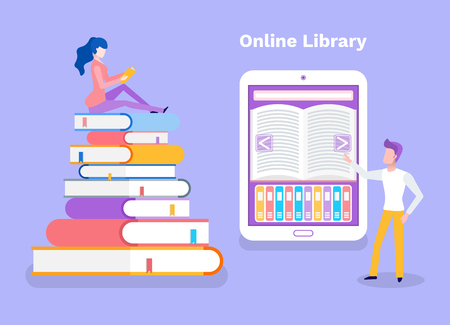 Online library woman sitting on pile of books vector. Lady studying, self education, man standing by ebook with opened literary work. Access to material Illustration