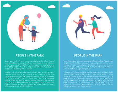 People in park poster mother with daughter in circle, text sample. Couple running outdoors, joggers on marathon. Woman buys ice cream and balloon