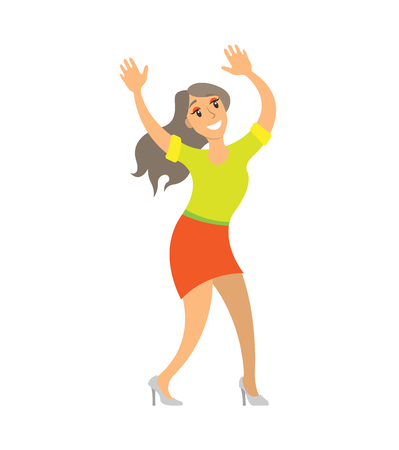 Dancing lady woman shaking body on music isolated vector. Party dancer female having fun on party, showing moves. Nightlife of lady in skirt and sweater
