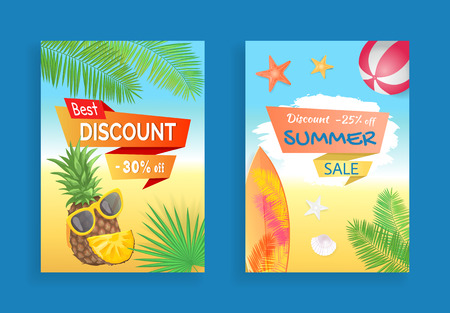 Best discount summer sale banners set. Pineapple and sunglasses, leaves of tropical trees and plants. Surfing board on seashore beach and ball vector
