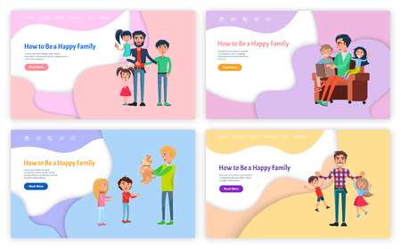 How to be happy family vector, father reading fairy tales vector. Man with kids playing games, daddy giving puppy to children, son and daughter website Illustration