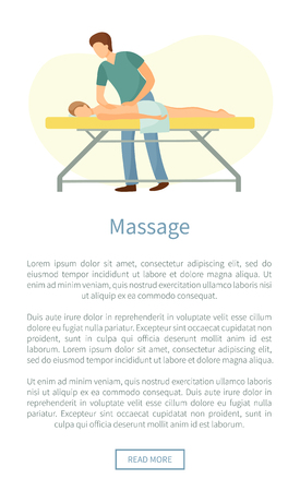 Massage web poster masseuse making relaxing movements on back. Male lying on table in spa salon vector healthcare concept, medical treatment procedure Ilustrace