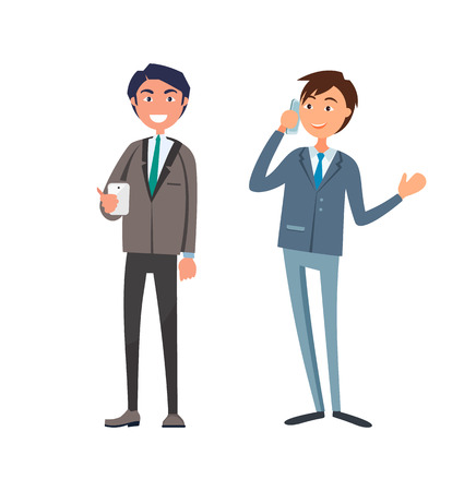 Smiling businessman in formal wear, executive worker with briefcase speaking on phone discussing business issues. Male office workers in suits vector 版權商用圖片 - 125493844