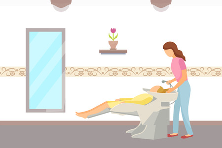Hairdressing salon, hair wash of client done by hairdresser. People in spa, woman having her head washed, styling new hairstyle in front of mirror vector