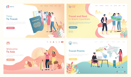 Time to travel websites with people and destinations vector. Man and woman with tickets, traveling to Asia, and warm countries, surfer with board set in flat style