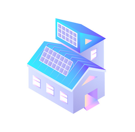 Buildings with installed solar batteries isolated icon vector. Smart city infrastructure, construction with alternative energy power hub generation 向量圖像