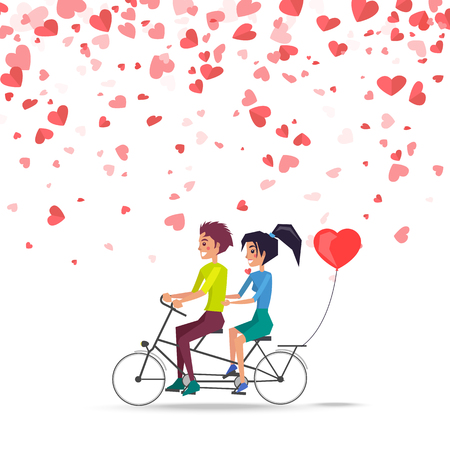 Man and woman riding on bike with red balloon of heart shape isolated vector. Happy couple on greeting card, flying symbols of love, romantic dating