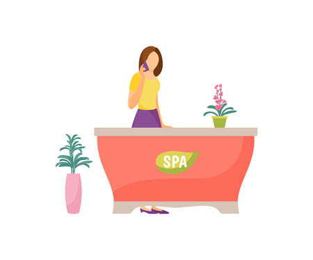 Spa salon reception woman receptionist vector. Isolated icon of lady taking on phone and standing by table. Receiving appointments discussing timing