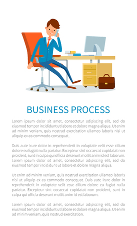 Business process, businessman talking on phone with customers vector. Text sample director discussing issues of working tasks. Boss in office by table