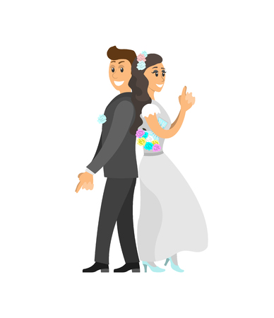 Groom in suit and bride wearing gown, funny spy pose, vector isolated. Just married couple posing on camera, newlyweds wife and husband on engagement Illustration