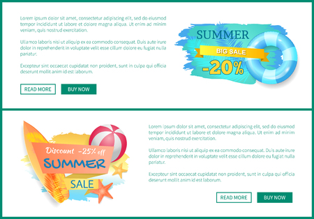 Summer big sale discounts, posters set with text sample. Lifebuoy and surfing board ball for volleyball. Promotion and seasonal propositions vector