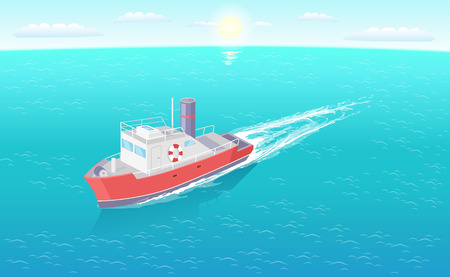 Steamboat marine transport vessel sailing in sea or ocean leaving traces in water. Transportation sailboat on skyline, speedboat floating vector icon