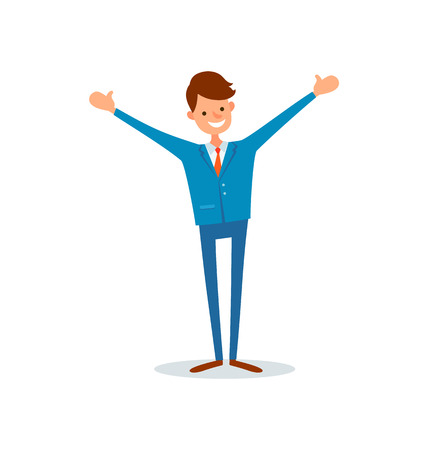 Man worker smiling and stretching hands high in air, flat style vector. Director happy of achievements, successful ceo, leader with smile on face Çizim