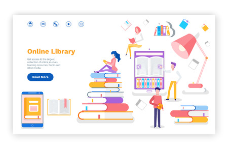 Online library access to books printed materials vector. Lightbulb in lap, website with information, book and readers studying new subjects for exam