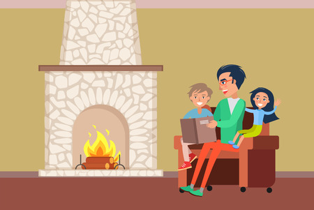 Father and children spending time by fireplace vector. Family evenings of people, daddy reading story to daughter and son sitting on armchair by warmth