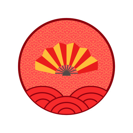 Fan Chinese New Year logo isolated circle icon vector. Line art, Asian celebration of holiday, traditional oriental style, line art Asia lunar calendar Illustration