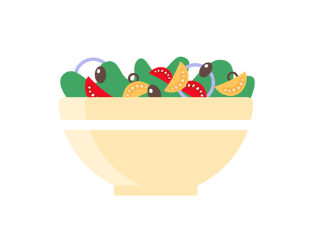 Salad dish in bowl, healthy food vector icon. Cooking vegetables and greens in flat style on white. Seasonal light food, homemade colorful nutrition