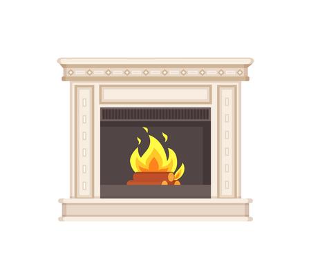 Kamin mit klassischen Ornamenten und Säulen isolierten Symbolvektor. Flammen und Holzscheite in Feuerzweigen und Wärmewärme. Wohnmöbel