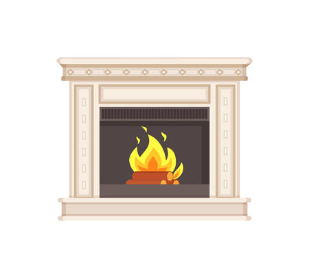 Fireplace with classic ornaments and columns isolated icon vector. Flames and wooden logs in fire branches and warmth of heat. Home interior furniture Illustration