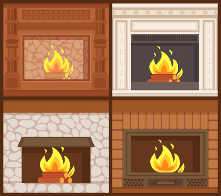 Fireplaces in classic styles wooden and stone decoration vector. Set of furnaces of open kind, burning logs orange flames. Carved ornamental decor interior
