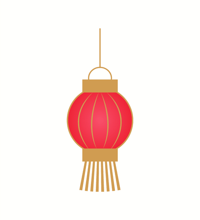 Lanterne en papier rouge suspendue avec des rayures dorées dans un style plat isolé sur blanc. Décoration chinoise classique pour le nouvel an, vecteur d'ornement coloré unique Vecteurs