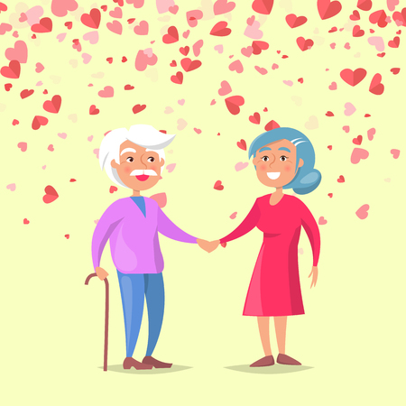 Smiling elderly man holding woman hand on white. Valentine grandparents day, feelings between old people, romantic day. Card decorated hearts vector