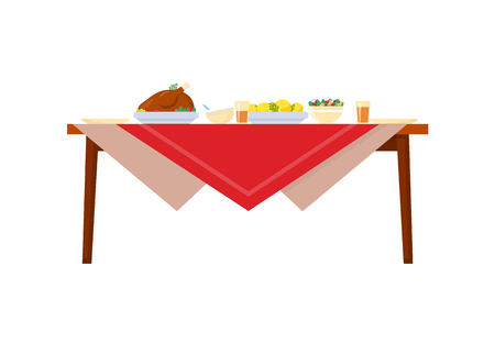 Dishes on table with red tablecloth. Food chicken with potatoes, salads and drinks, cups and plates. Set-table of deliciouce meal in realistic style vector Illusztráció