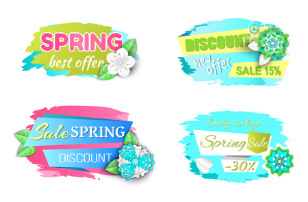 Spring best offer promo labels, only today best prices, shop clearance price tags vector isolated icons. Springtime discounts, sale from 15 to 30 percent off