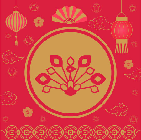 2019 Chinese New Year holiday spring festival vector. Floral elements, lantern made of paper, origami and hand fan. Clouds and flowers in bloom flourishing Illustration