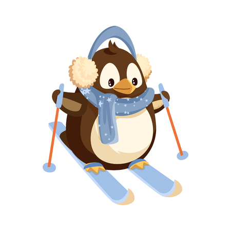 Penguin in earmuffs and scarf on skis with sticks. Winter sport, Arctic bird in warm outfit doing sport. Polar animal, Christmas holiday isolated vector. Çizim