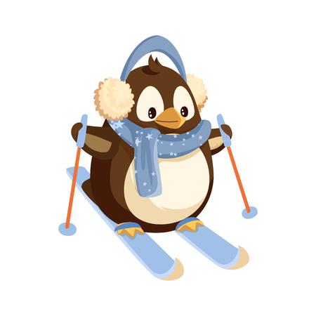 Pingwin w nausznikach i szalik na nartach z kijami. Sporty zimowe, arktyczny ptak w ciepłym stroju uprawiający sport. Polarne zwierzę, Boże Narodzenie wakacje na białym tle wektor.